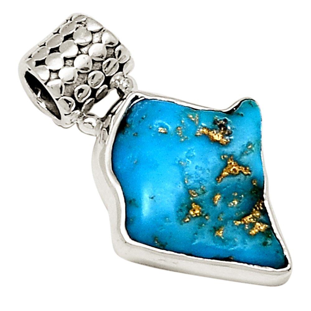 Xtremegems Neyshabur Turquoise 925 Sterling Silver Pendant 1 1//4 19129P