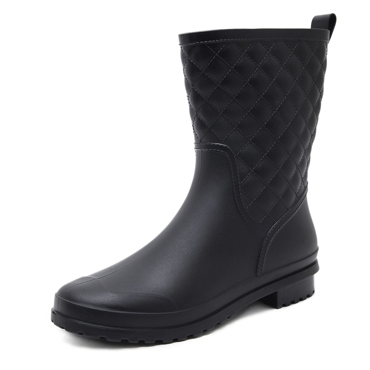 Asgard Women's Mid Calf Rain Boots Waterproof Rubber Booties BK40