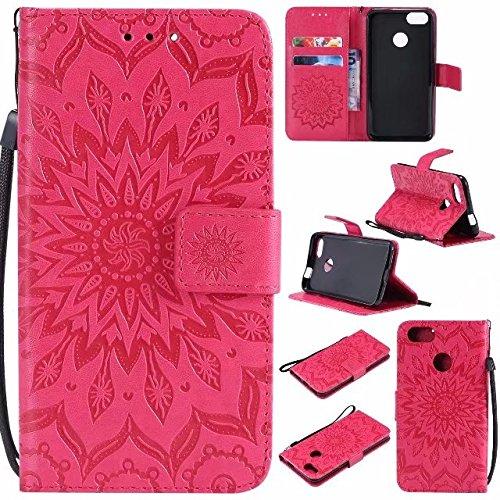 GR Para Huawei P9 Lite Mini / Y6 Pro 2017 / Enjoy 7 Sun Flower Diseño de impresión PU Leather Lanyard Lanyard funda protectora con ranura para tarjeta de soporte ( Color : Rose Gold ) Red