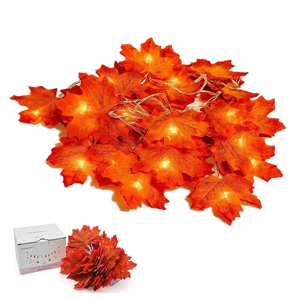 Suker Thanksgiving Decorations Lighted Leaf Garland, Autumn Maple String Lights 13ft 40 LED, Fall Garlands for Autumn, Halloween, Christmas, Picnic, Outdoor Decor SukerDirect