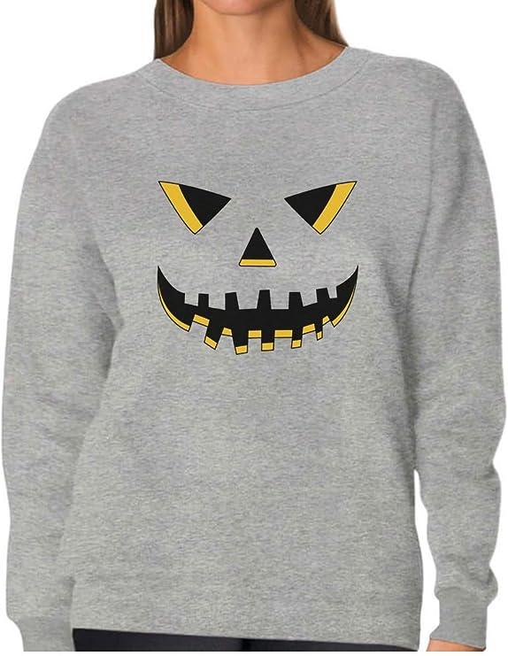 Jack O/' Lantern Smiling Pumpkin Face Halloween Women Sweatshirt Funny