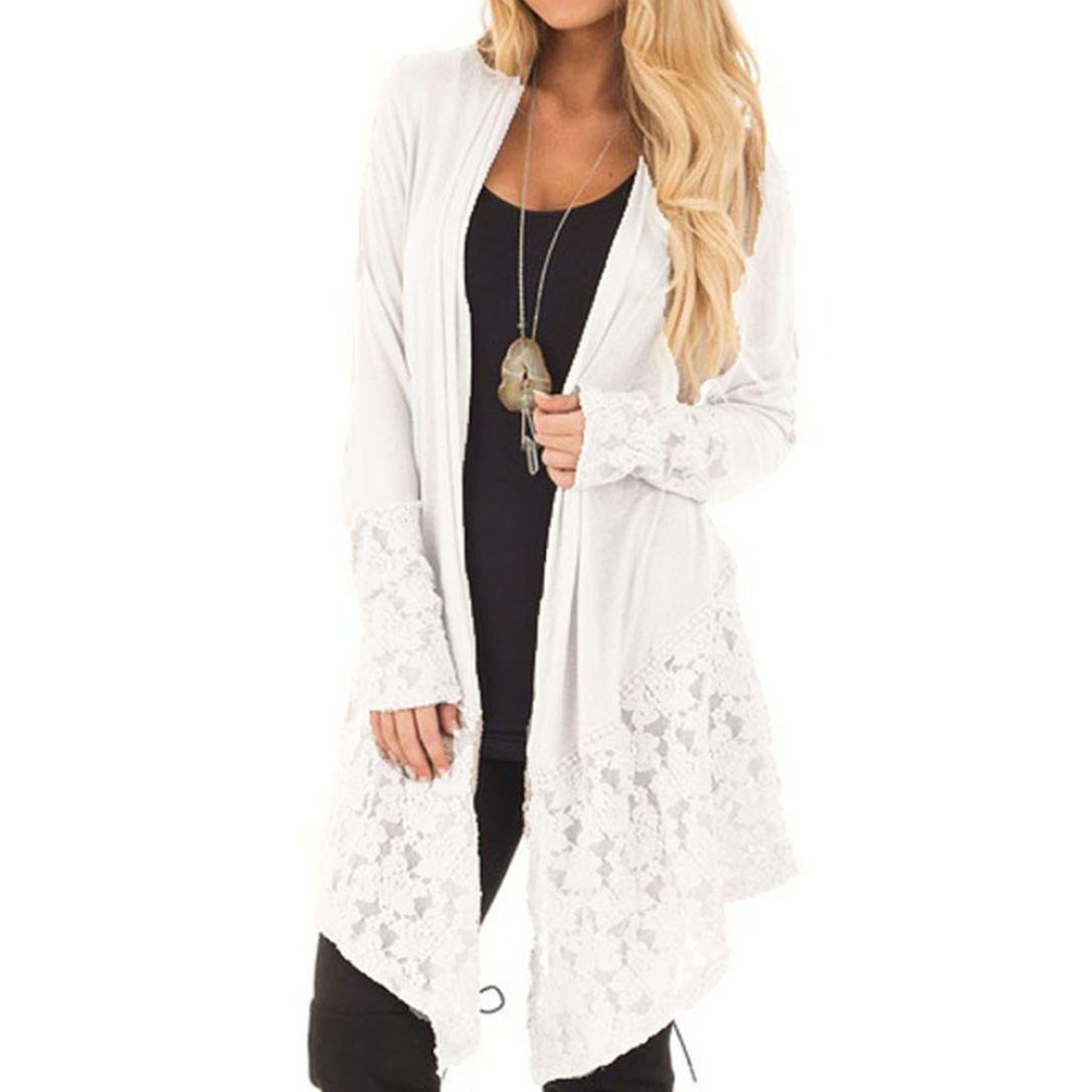 Clearance! Women's Lace Long Sleeve Cardigan Loose Solid Kimono Blouse Top (L, White)