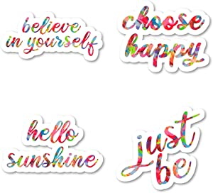 Believe in Yourself Just Be Choose Happy Hello Sunshine Sticker Pack Watercolor Stickers - 4 Pack - Laptop Stickers - for Laptop, Phone, Tablet Vinyl Decal Sticker (4 Pack) S211206
