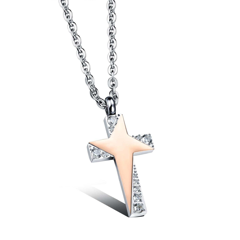 Davitu Cross Design Lovers Pendant Necklaces Classical Cubic Zirconia Stainless Steel Women Men Jewelry Necklace OGX1039 Metal Color: Male