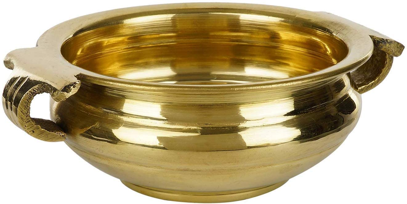 Ethnic Design Decorative Brass Urli Traditional Bowl Showpiece 4 Inch Width, Golden