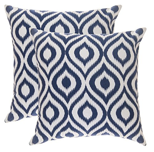 TreeWool Decorative Square Throw Pillow Covers Set Ikat Ogee Accent 100% Cotton Cushion Cases Pillowcases (16 x 16 Inches / 40 x 40 cm; Navy Blue & White) - Pack of 2
