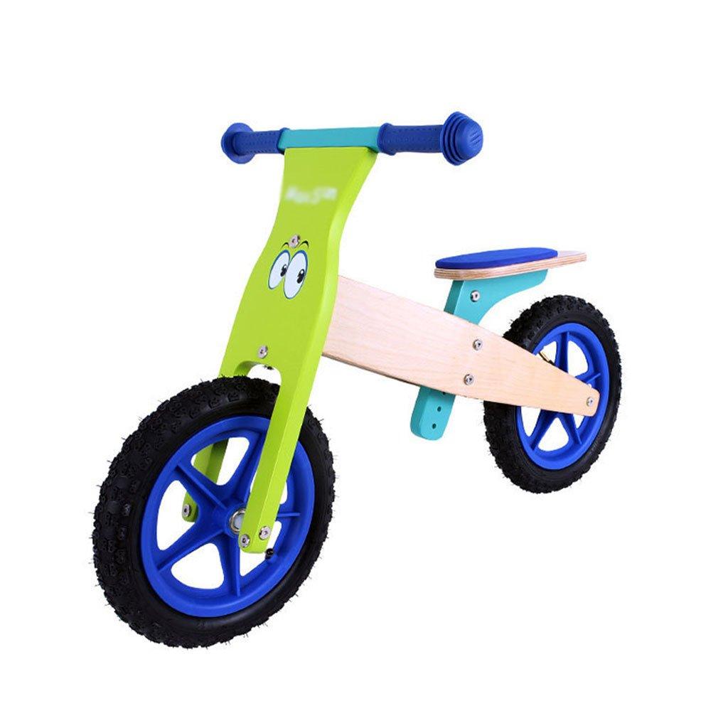 子供ダブルホイール自転車子供のスクーターペダルバランスなし車のインフレータブルベビースクーターバギー2ラウンド木製3-7歳 B07FHYGBZDA