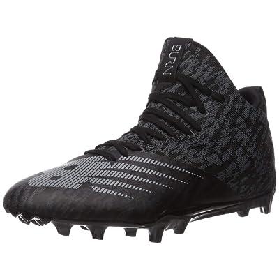 New Balance Men's Burn X2 Mid-Cut Lacrosse Shoe, BLACK/GREY, 7.5 D US | Track & Field & Cross Country