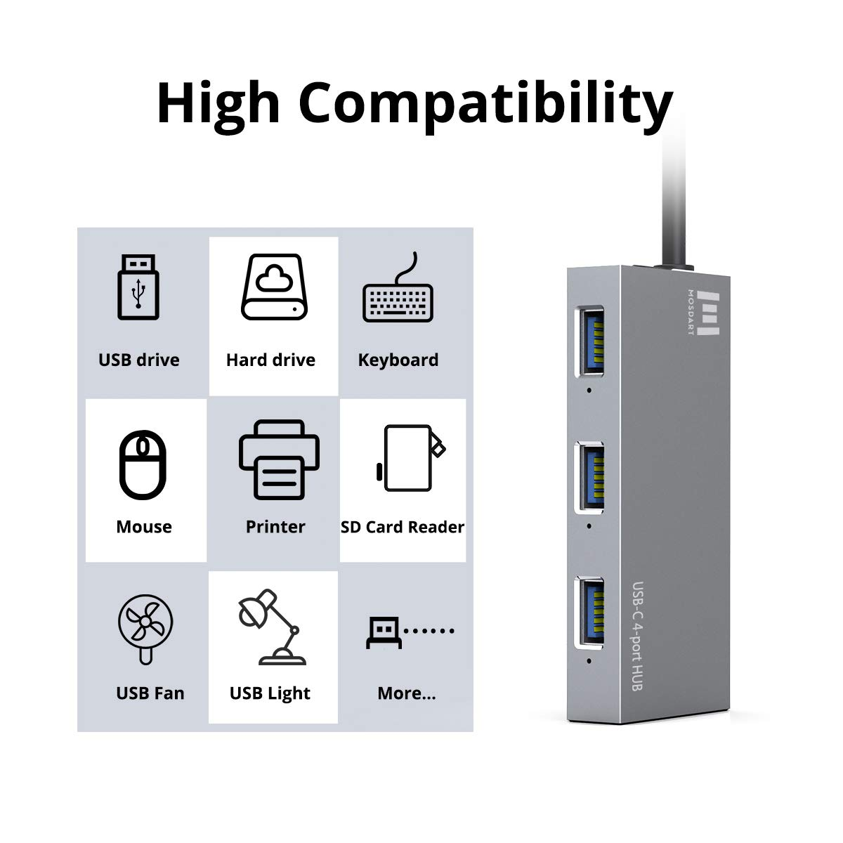 4 USB3.0 Ports Aluminum USB-C Hub Samsung S9 and More USBC Devices by Mosdart iMac 4-in-1 USB Type C to USB A Adapter Expander for MacBook Pro USB C Hub with Led Light Chromebook Pixelbook XPS