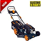 "BMC Lawn Racer 20"" Self Propelled Electric Push Button Start Lithium Ion Battery 5.5HP 4 Stroke Rotary Petrol Lawn Mower with 60L Grass Collection Bag, All Steel Deck, 4 in 1 Function Cut, Cut & Collect, Mulch, Side Discharge - 2 Year Warranty"
