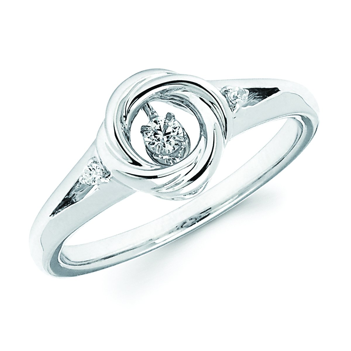 925 Sterling Silver 0.10 Cttw. Dancing Diamond Ring (I, I1)