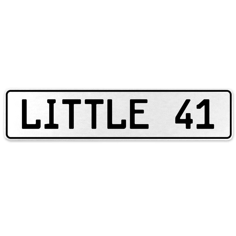 Vintage Parts 556321 Little 41 White Stamped Aluminum European License Plate