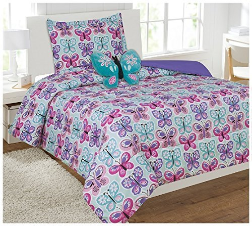 Twin Size 6pc Comforter Set for Girls Butterfly Light Blue Turquoise Pink Purple New ()