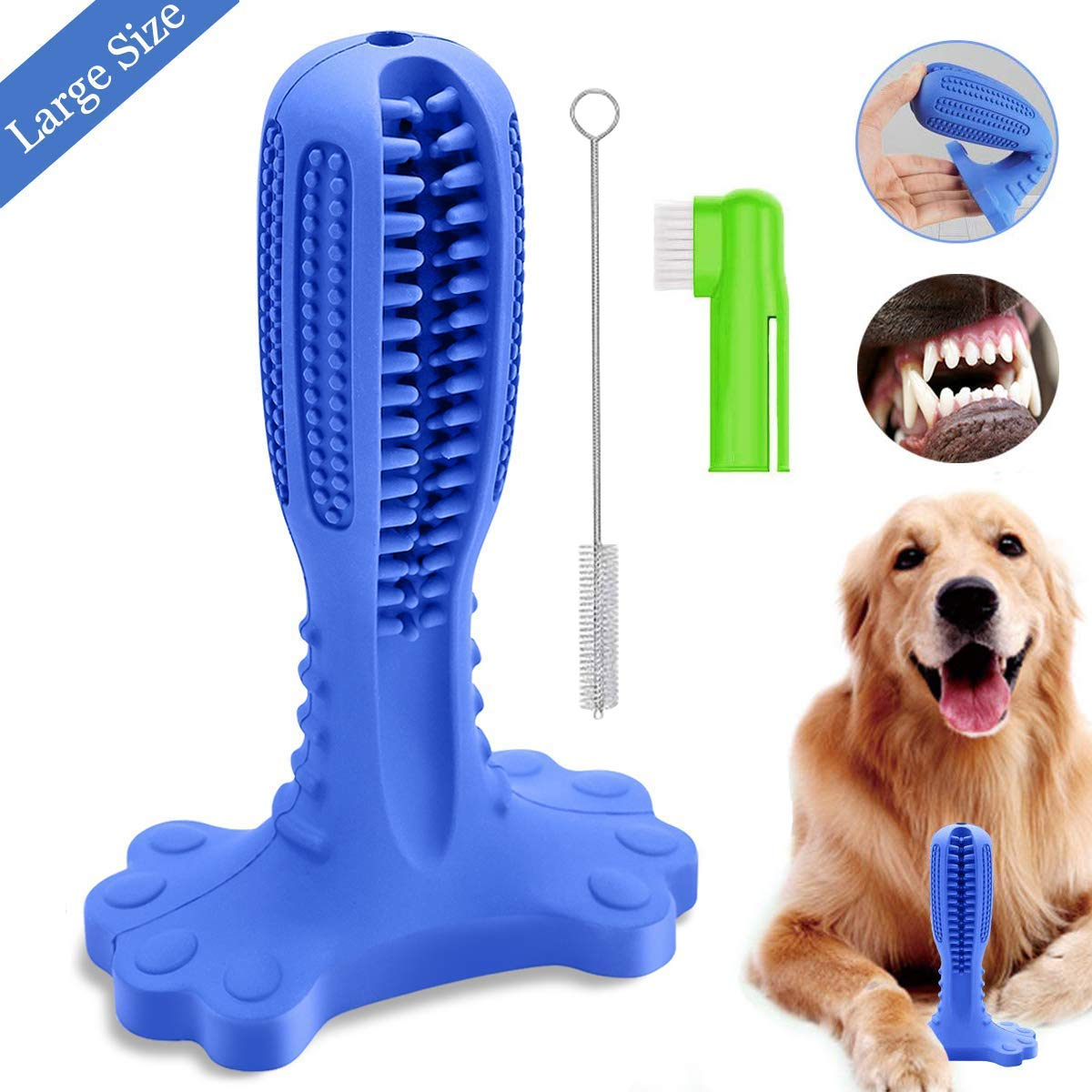 ANKEWAY Dog Chew Toothbrush-2019 Upgraded Version Large Size Natural Rubber Dog Teeth Cleaner Brushing Stick for Small, Medium and Large Dogs (Toothbrush) by ANKEWAY