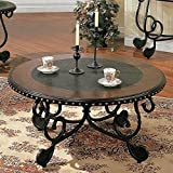 Steve Silver Rosemont Scrolled Base Cocktail Table w Black Inlaid Top