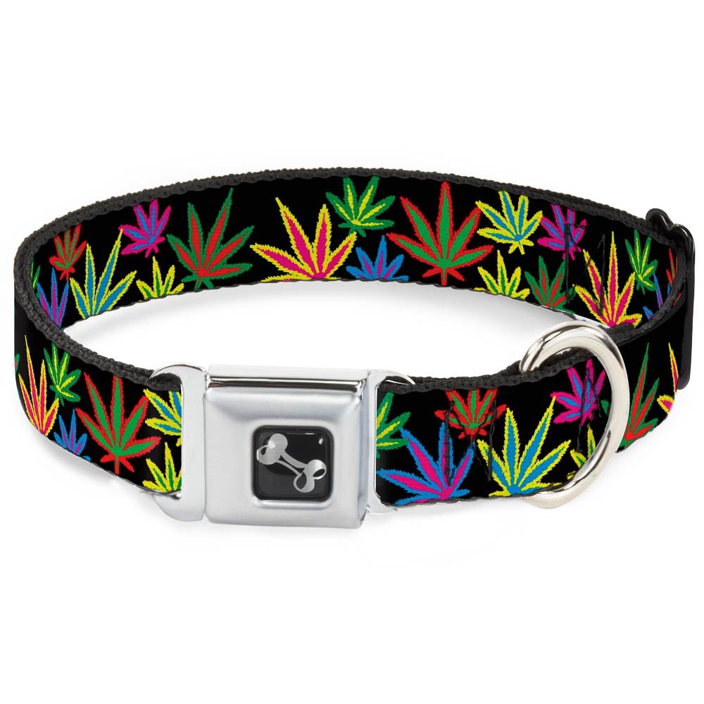 Buckle-Down 15-26  Marijuana Leaves Black Multi color Dog Collar Bone, Large