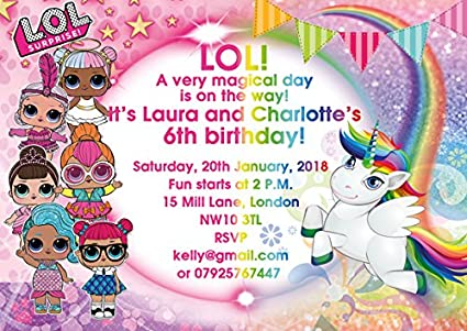 Abv Designs 10 X Lol Dolls Unicorn Personalised Joint Birthday Party Invitations Or Thank You Cards With Blue Envelopes