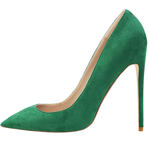 Lovirs Womens Pointed Toe High Heel Stiletto Solid Color Stiletto Green Pumps  Wedding Party Shoes 2