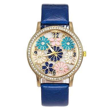 Reloj para Mujer BBestseller Retro Reloj Redondo de Diamantes para Mujer,Mecanismo de Cuarzo Correa