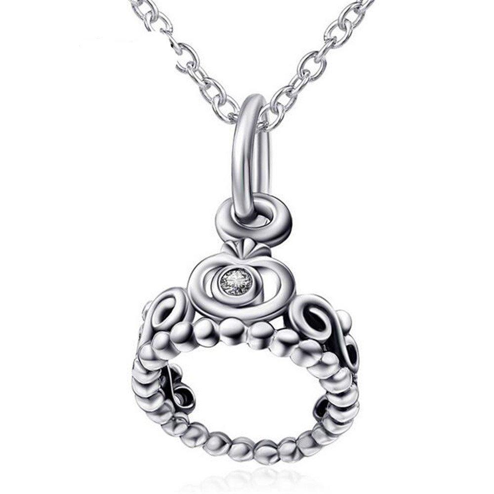 LANGUANGLIN 925 Sterling Silber Europäischen und Amerikanischen Vintage Halskette Liebe Krone Anhänger Zubehör Weiblichen Schmuck 45 cm B07FSWDBHG Halsketten Modern | Sofortige Lieferung
