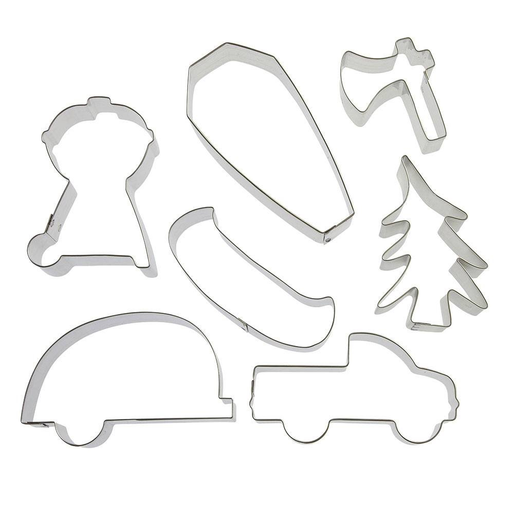 Welcome To Our Campsite Cookie Cutter 7 Pc Set - Foose Cookie Cutters - US Tin Plated Steel HS0421