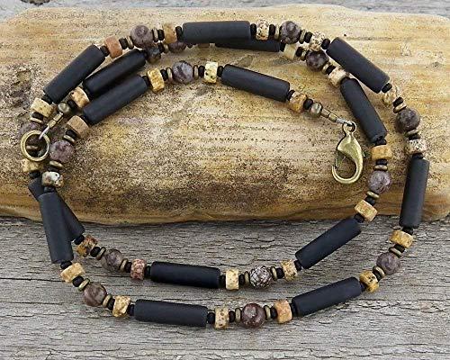 Mens Necklace - Unisex Thin Black Onyx Necklace - Surfer Necklace - Beaded Necklace for Men - Surfer Jewelry