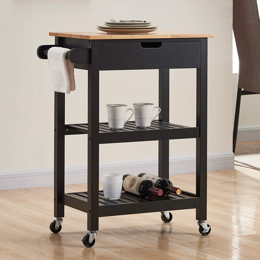 Image of Home and Kitchen Coniffer Kitchen Island Microwave Rolling Cart on Wheels White with Storage for Dining Rooms Kitchens and Living Rooms (Black)