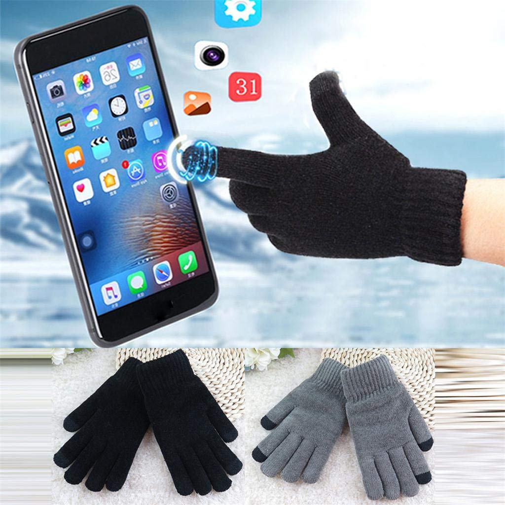 Sikye Men Women Touchscreen Texting Gloves Soft Winter Knitting Warm Gloves Fashion Mittens for Outdoor Sport Black