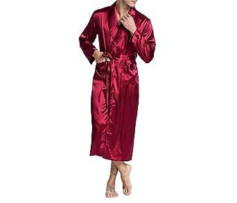 Seda de los Hombres Satén Albornoz Bata Pijamas Largos de Seda sólida Hombres Seda camisón Ropa de Dormir Kimono Homme Bata: Amazon.es: Ropa y accesorios