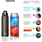 Aquatix (Black, 32 Ounce) Pure Stainless Steel Double Wall Vacuum Insulated Sports Water Bottle with Convenient Flip Top - Keeps Drinks Cold for 24 Hours, Hot for 6 Hours