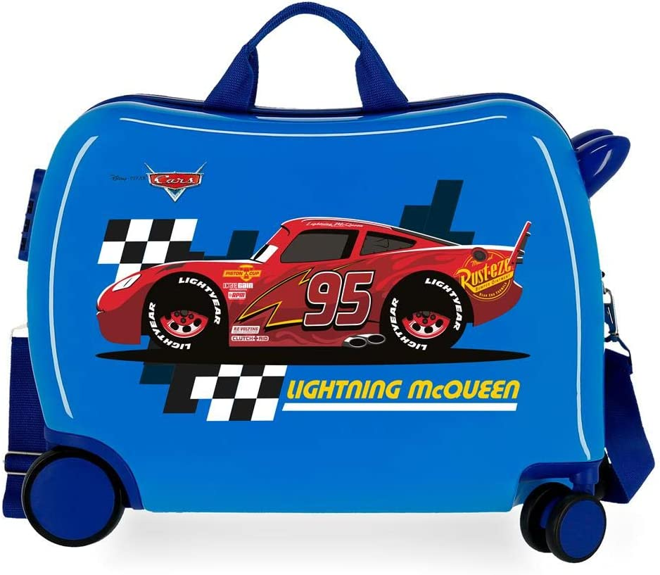 Maleta infantil 2 ruedas multidireccionales McQueen Azul