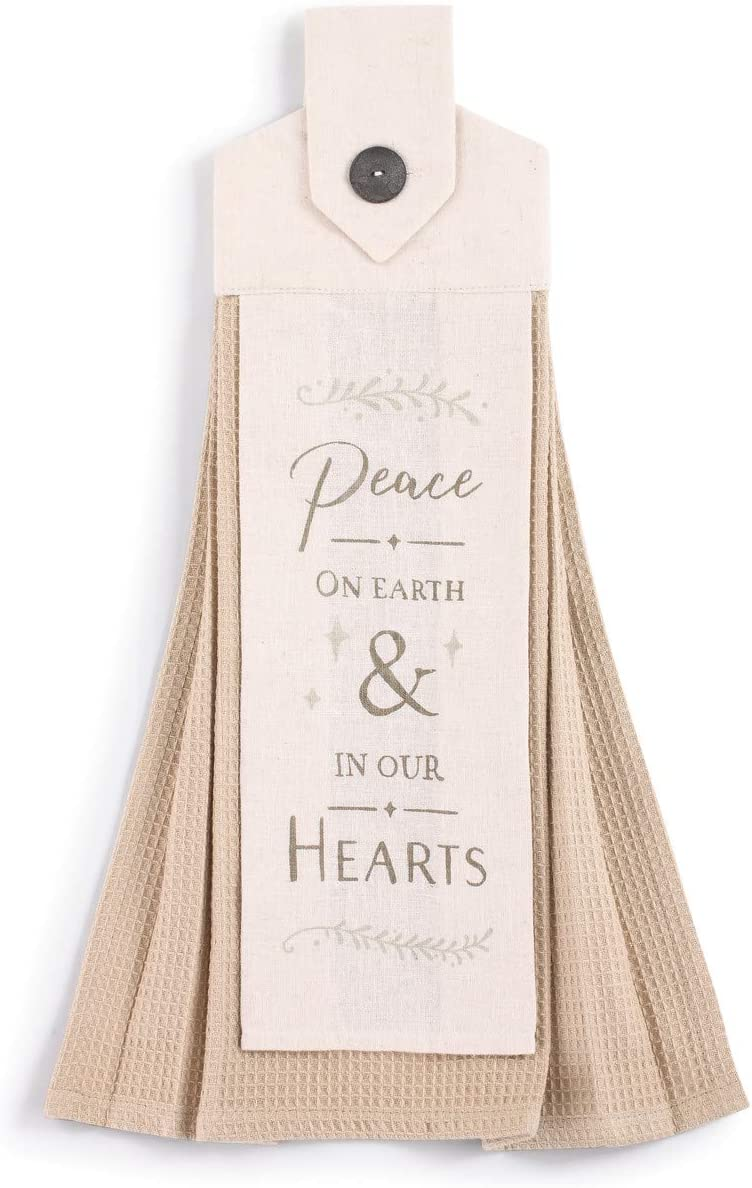 Peace On Earth Khaki Cream 20 x 6 Cotton Linen Holiday Button Loop Tea Towel