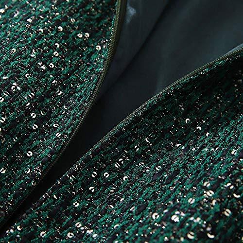 Verde Mujer M Falda Larga Manga Qzbtu Cadera Fragancia Pequeña Bolso De Faldas Vestido Delgada Pnq16