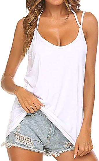 HAXICO - Camiseta sin Mangas con Tirantes y Escote en V para ...