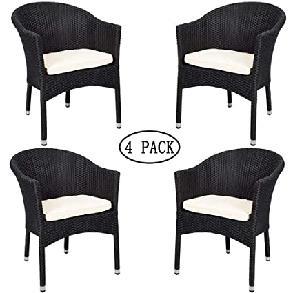 Pleasing Karmas Product 4 Pcs Outdoor Rattan Chairs Patio Garden Furniture With Seat Cushions Weave Wicker Armchair Black Home Interior And Landscaping Oversignezvosmurscom