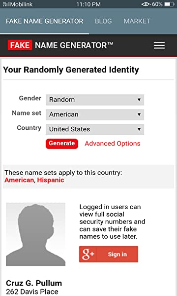 Apps Generator mobile amazon Fake Name