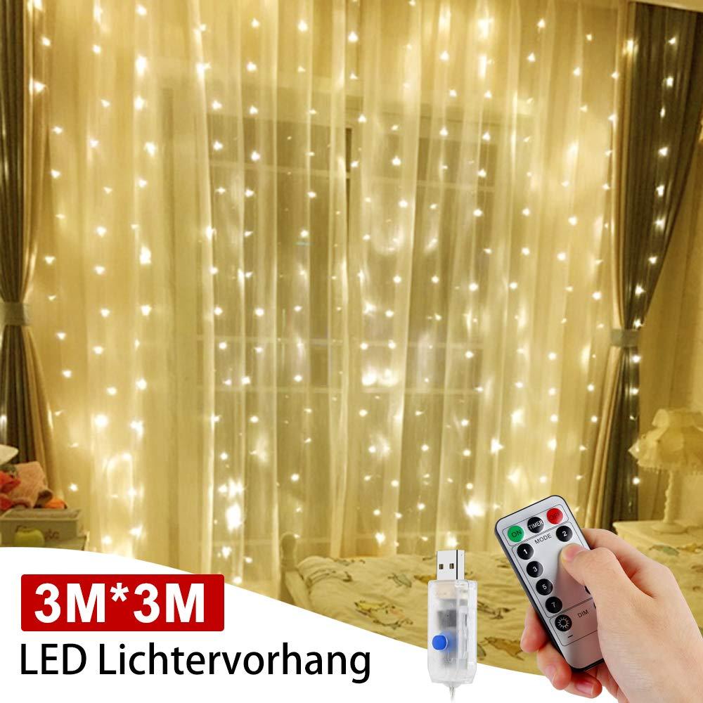 Cortina de Luces, 3 * 3M 300LEDs Luces de Cortina, LED Cadena de luces