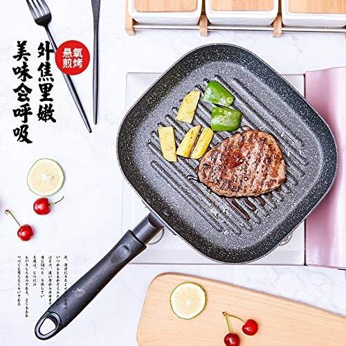 Yqs Poêle à Steak Steak Grill Pfannen antiadhésifs Bratpfanne Küche Braten Eier Kochen Steak Pfannen (Farbe : Licht Grau)