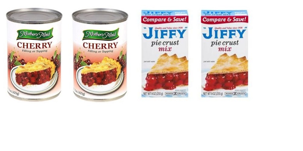 Pie Baking Bundle - 2 Boxes Jiffy Pie Crust Mix (9 oz.) & 2 Cans Mother Maid Cherry Pie Filling or Topping (15 oz.)