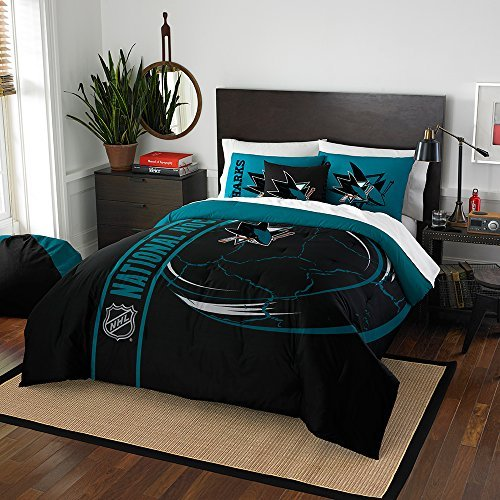 Northwest 836 2 Shams NOR-1NHL836000020BBB 76 x 86 San Jose Sharks NHL Full Comforter Set, Soft & Cozy