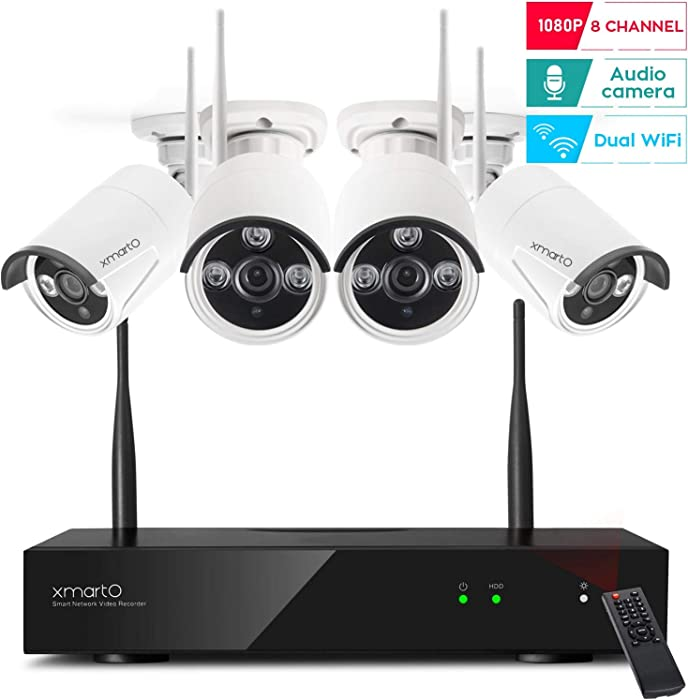 [2020 Dual WiFi 8-CAM 1080p] xmartO 8-Camera WiFi Security Camera System Wireless with 4X 1080P WiFi IP Cameras for Home and Business Surveillance (Dual WiFi Routers in NVR,100ft IR, No HDD, WRS2084)