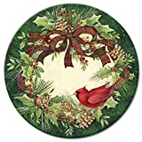 Counter Art 13'' Glass Lazy Susan Serving Plate, Cardinal Wreath