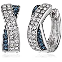 Sterling\x20Silver\x20Montana\x20Blue\x20and\x20White\x20Swarovski\x20Elements\x20Crystal\x20Crossover\x20Huggie\x20Hoop\x20Earrings