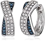 "Sterling Silver Montana Blue and White Crossover Huggie Hoop Earrings Made with Swarovski Crystal (0.75"" diameter)"