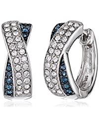 Sterling Silver White and Montana Swarovski Crystal Crossover Hoop Earrings