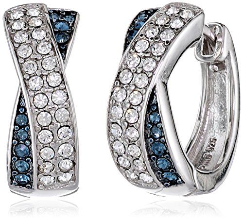 Sterling Silver Montana Blue and White Crossover Huggie Hoop Earrings Made with Swarovski Crystal (0.75