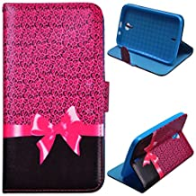 Voguecase® For BLU Studio 6.0 HD D650a,Slim Fit PU Leather Case Cover with Stand (Pink Bow / Leopard) & Card Slots with Free Universal Screen-stylus