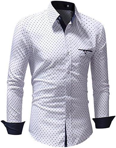 Reooly Camisa de Vestir de Manga Larga con Estampado de Lunares Formal Informal de otoño Hombre: Amazon.es: Ropa y accesorios