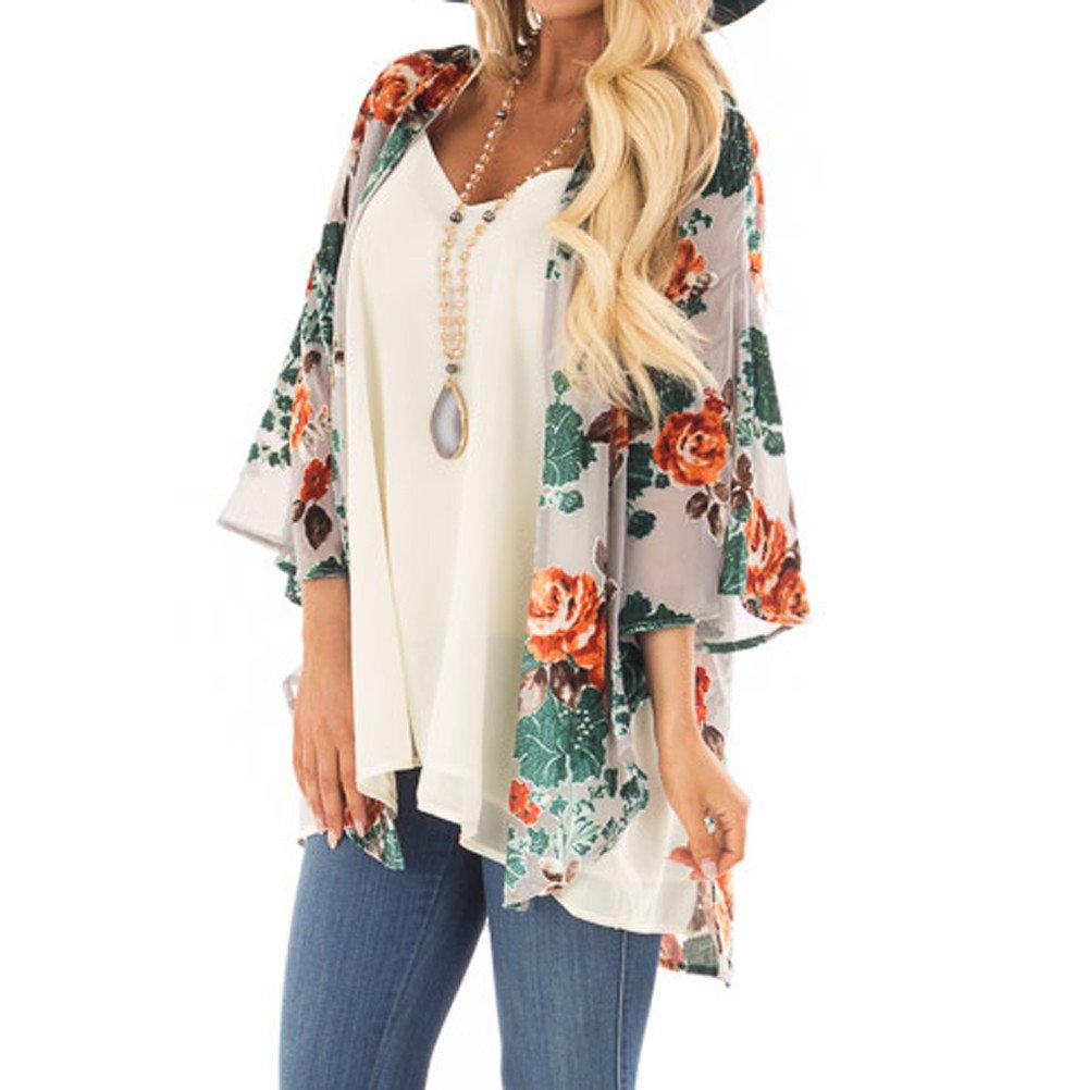 Rambling Women's Floral Print Short Sleeve Shawl Chiffon Kimono Cardigan Casual Blouse Tops