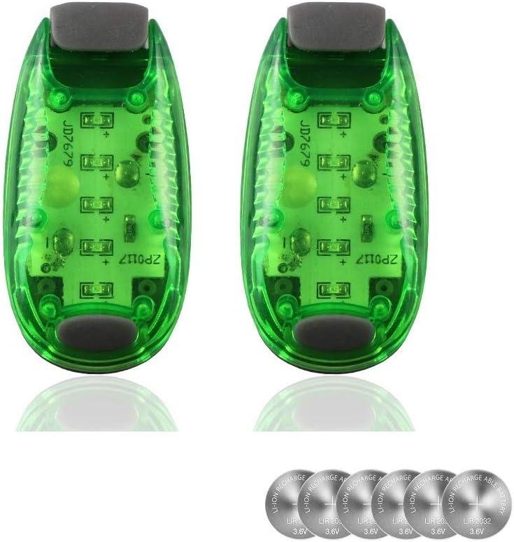 2 Green With 6 Extra Replacement Batteries Heatigo LED Dog Flashing Light For Daytime Running Lights Walking Bike Backpack Bike Children Child Woman Dog Pet Runner